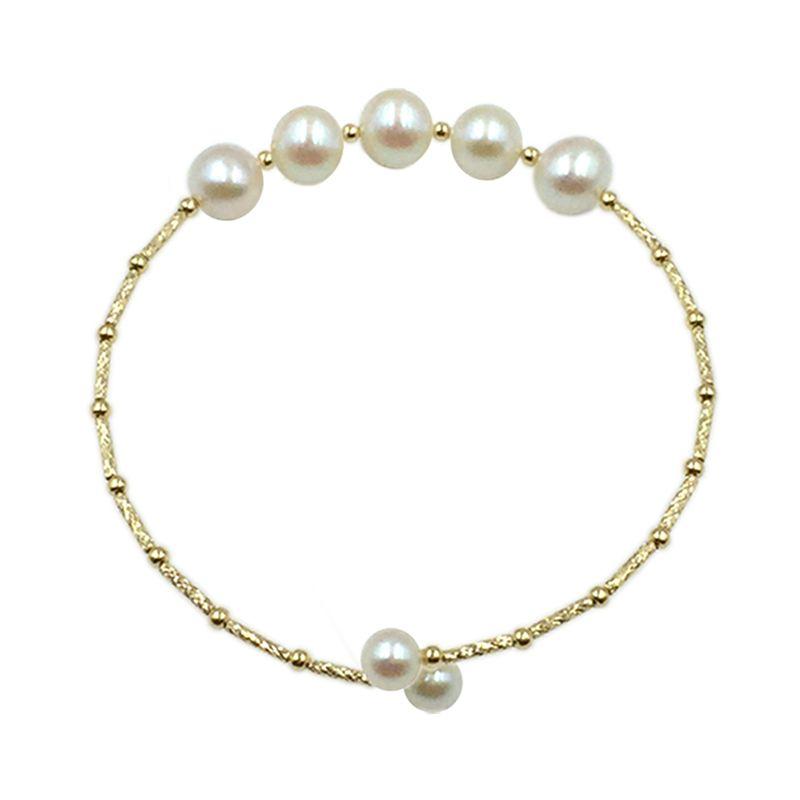 Sinya Natural pearls 18k gold tube Bangles bracelet for women girl Mum girl lover length about 17.5cm pearl diameter 7-8cm