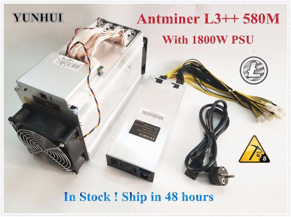 Bitmain Neueste ANTMINER L3 + + 580 mt (mit netzteil) scrypt Miner LTC Bergbau Maschine Besser Als ANTMINER L3 L3 +