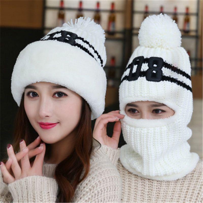 New Add Knit Lining Winter Hats Women Warm Fur Pom Pom Cap Skullies & Knit Hats For Women High Quality Girls Hats beanie hat