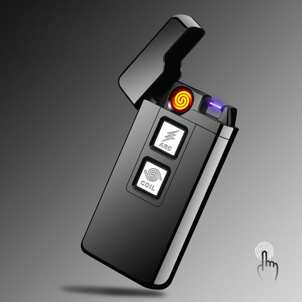 2017 New 2 in 1 Coil and Arc Lighter Smart Electronic USB Lighters Dual-purpose Touch Induction Ignition Metal Cigarette Lighter