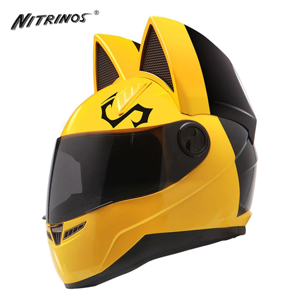 NITRINOS Motorcycle Helmet Women Moto Helmet Cat Helmet Full Face Casque Moto Casco Cat Horns Motorbike Helmet Capacete