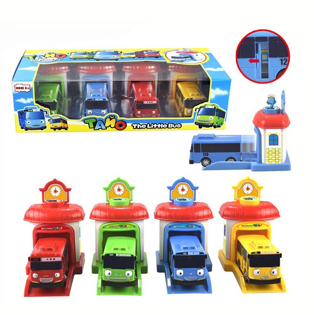 Escala modelo 4 unids/set tayo el pequeño bus bus niños en miniatura de plástico bebé oyuncak garaje tayo bus juguetes para niños de coches regalo