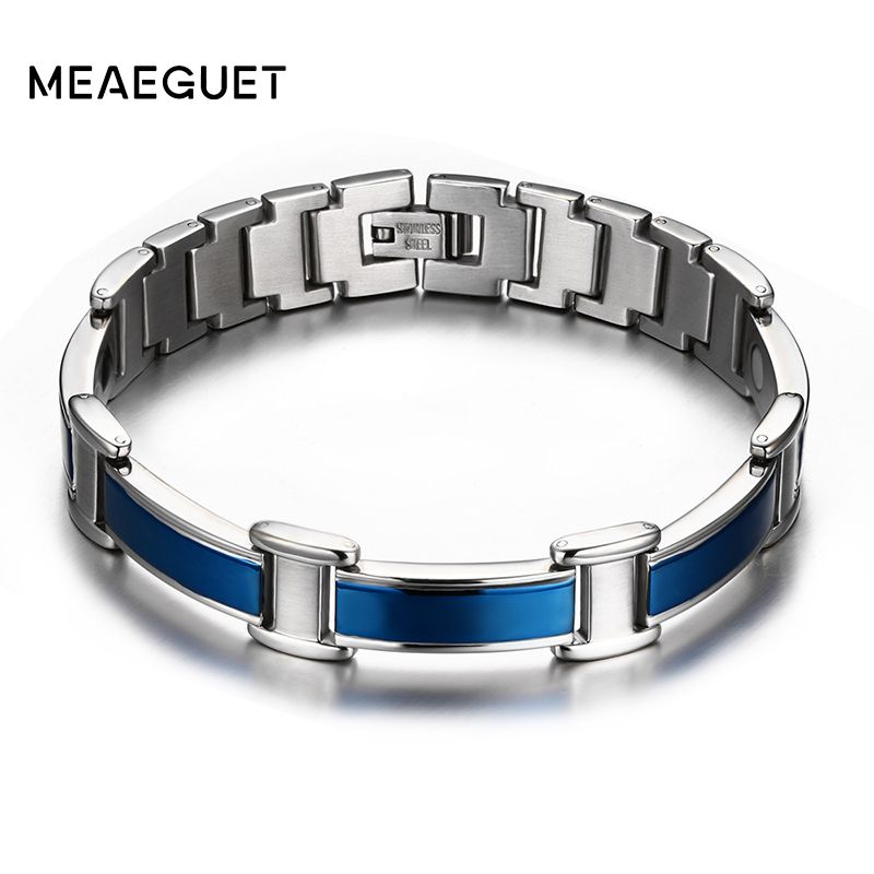 Meaeguet Healthy magnetic bracelets & bangles stainless steel body care blue bracelet men