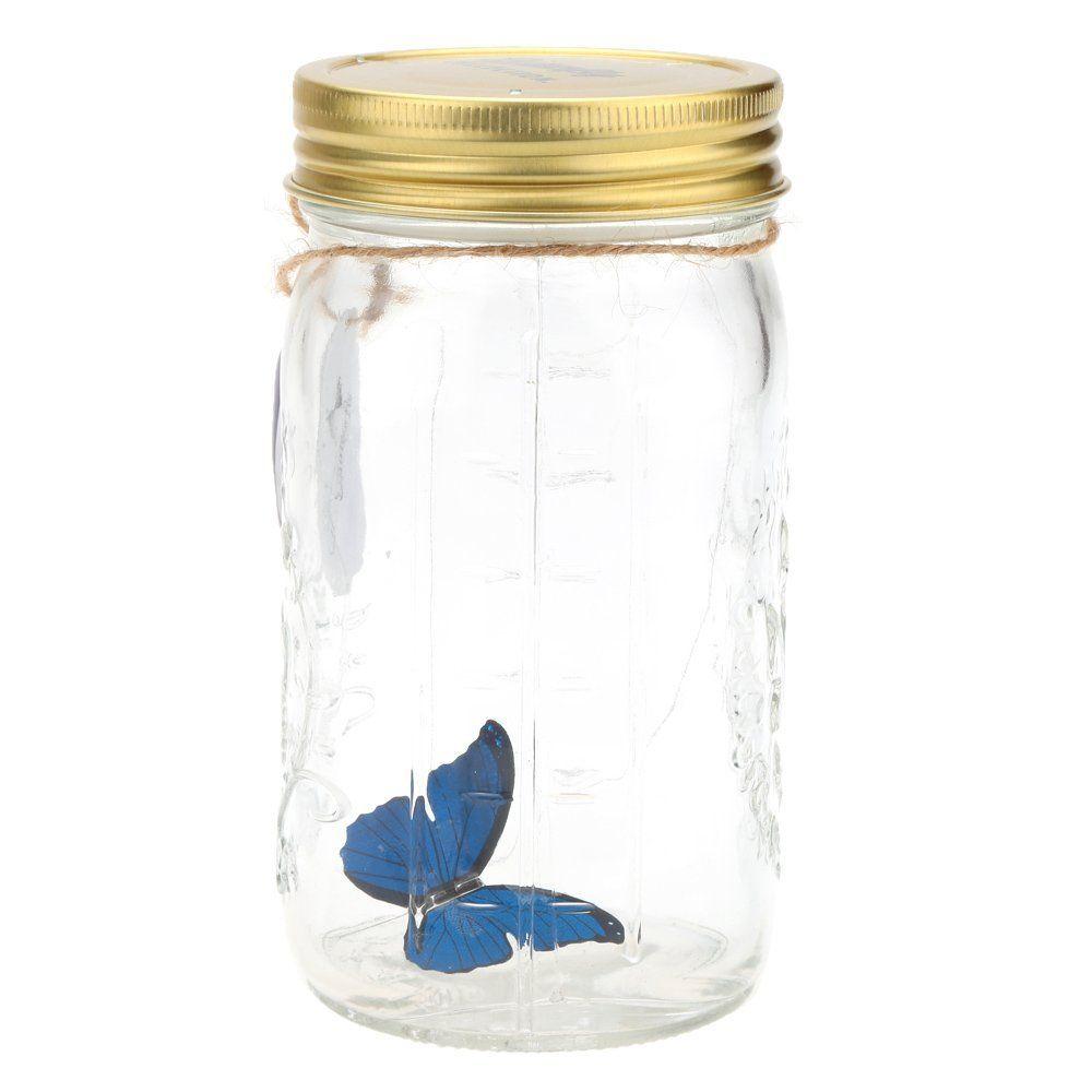 Romantic Glass LED Lamp Butterfly Jar Valentine Children Gift Decoration Blue