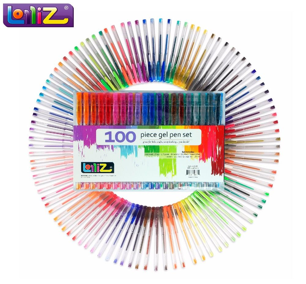 LolliZ Children Colored Art 100 Pcs Gel Pens Set W/Bonus 12 Colors Refills Glitter Neon Milky Swirl Office School Supplies