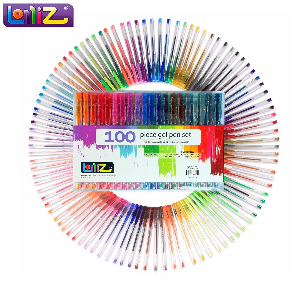 LolliZ Enfants Art Coloré 100 pièces Stylos Gel Ensemble W/Bonus 12 Couleurs Recharges Néon Brillant Laiteux Tourbillon Bureau Fournitures Scolaires
