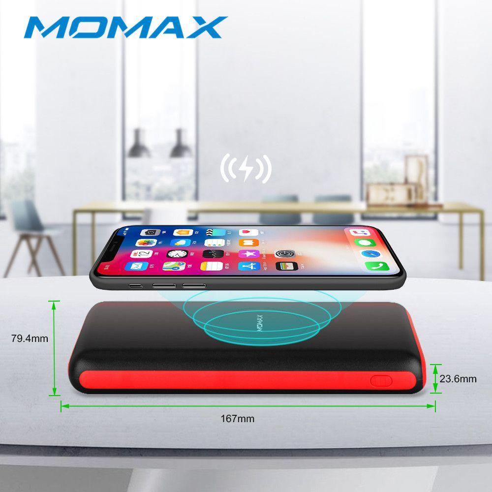 MOMAX Wireless Charge Power Bank Portable 20000mAh Ultra-thin Powerbank Mobile Phone 2.1A Output Li-Polymer External Batteries