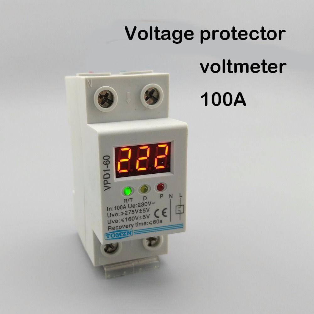100A 220 V automatische verbinden über und unter spannung schutz gerät relais mit Voltmeter spannung monitor