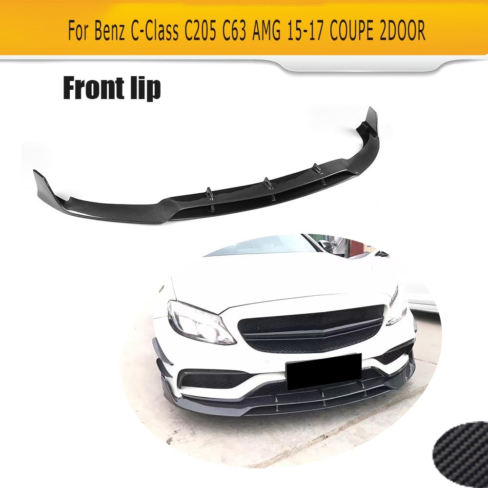 C Class Carbon Fiber Front Bumper Lip Spoiler Kit for Mercedes Benz C205 C63 AMG S Coupe 2 Door Only 15-17 Convertible
