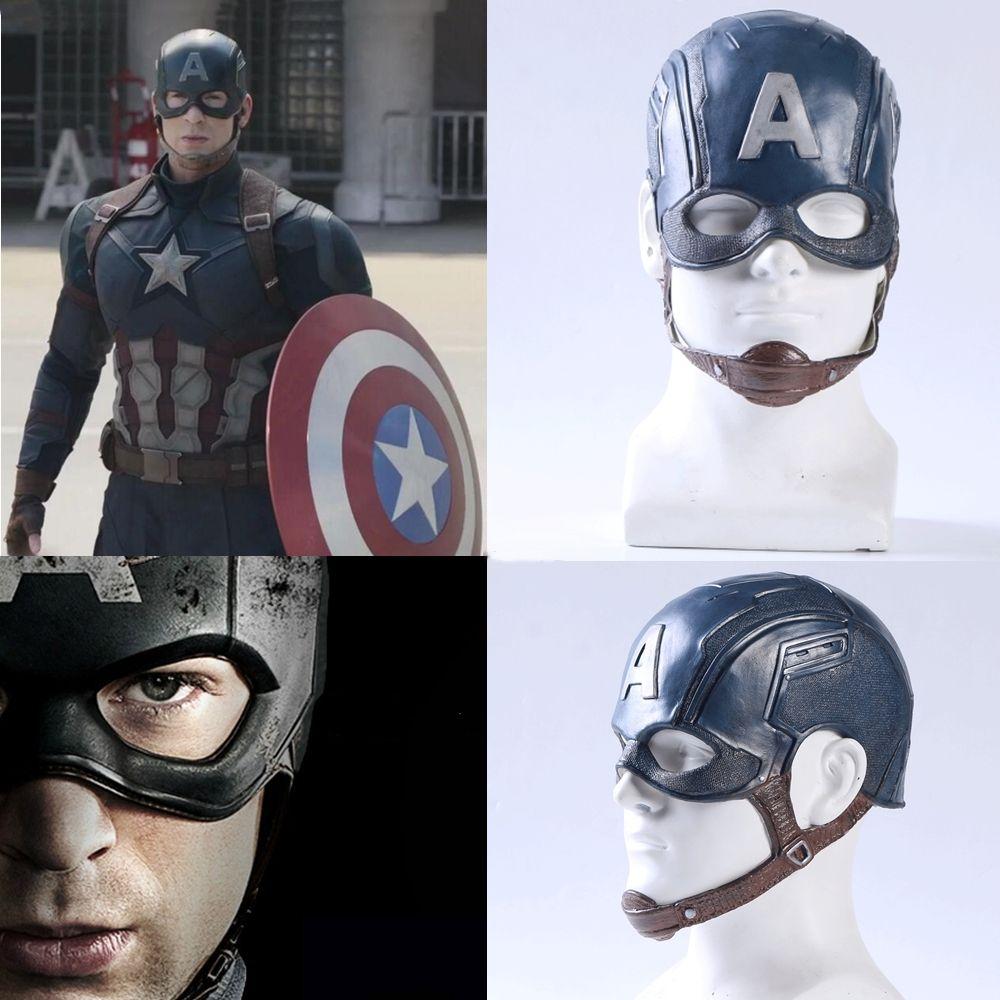 Film Captain America 3 guerre civile Captain America masque Cosplay Steven Rogers super-héros Latex casque Halloween pour hommes accessoire de fête
