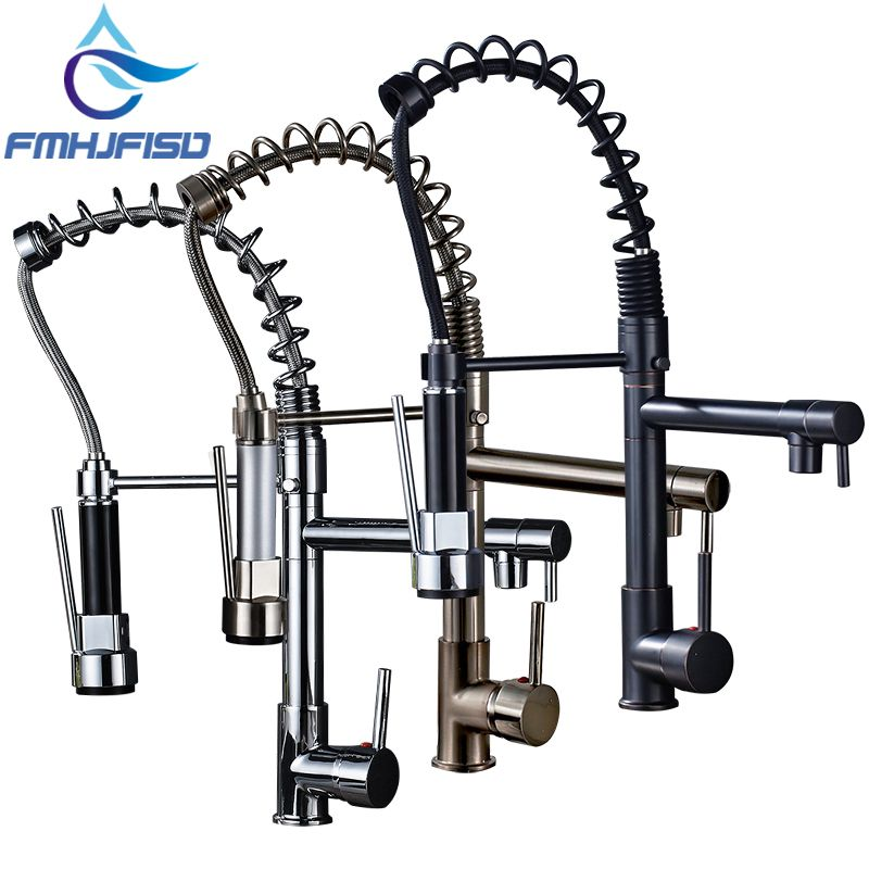 <font><b>Promotion</b></font> Dual Spout Spring Pull Down Kitchen Sink Faucet 360 Degree Rotate Hot and Cold Water Taps