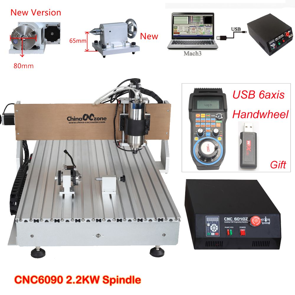 CNC 6090 2.2KW 4axis CNC Router Engraving Drilling Milling Machine Water-Cooled-Spindle PCB Metal Milling Machine Stone Cutter