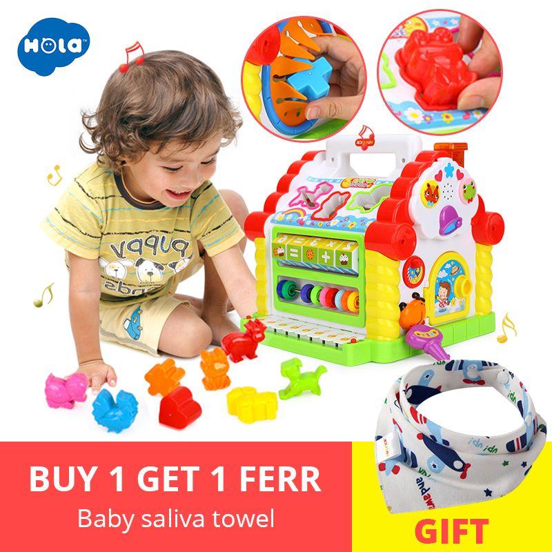 HOLA 739 Multifonctionnel Jouets Musicaux Bébé Fun House Musical Électronique Blocs Géométriques De Tri D'apprentissage jouets éducatifs Cadeaux