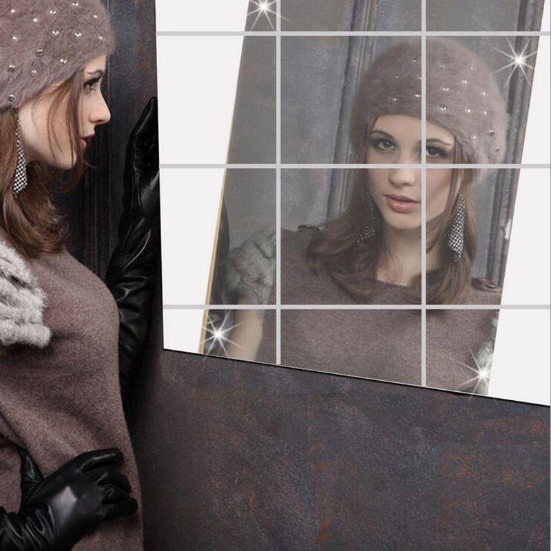 Зеркало на Стене Наклейки Последние дизайн 0.1 ММ площадь зеркала декоративные наклейки пленка может быть прикреплен к стене новая мода 7Z
