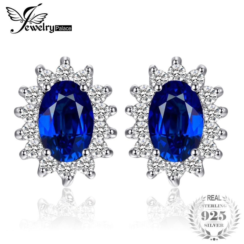 JewelryPalace Princess Diana William Kate Middleton's 1.5ct Created Blue Sapphire Stud Earrings 925 Sterling Silver Stud Earring