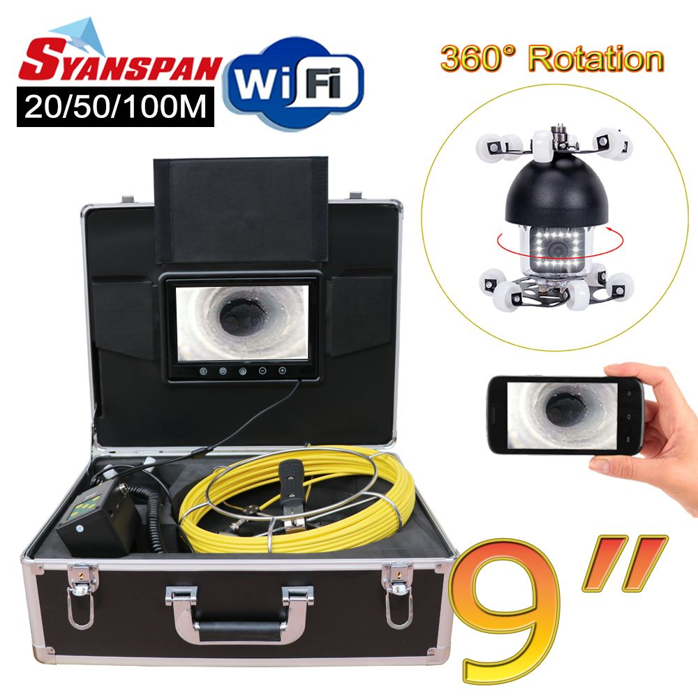 SYANSPAN 9 WiFi Rohr Inspektion Video Kamera, ablauf Kanalisation Pipeline Industrie Endoskop unterstützung Android/IOS 360 Rotation 20-100 M