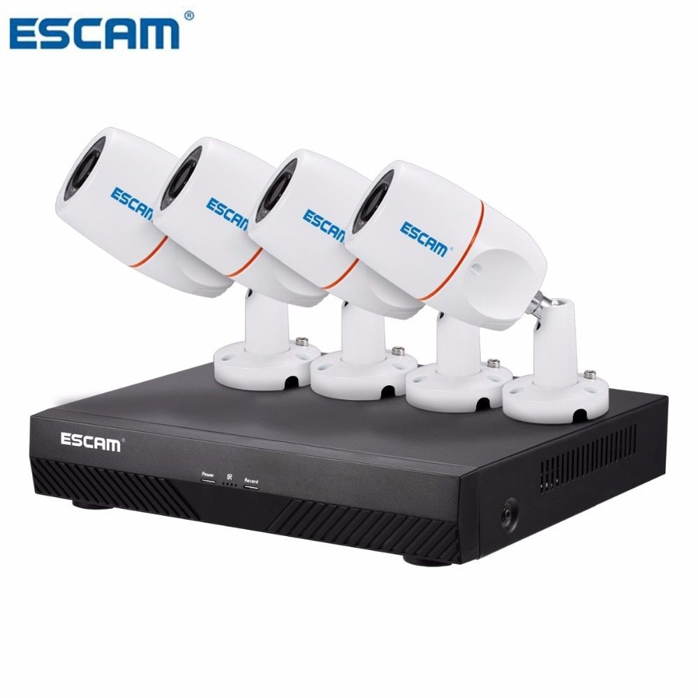 ESCAM PNK405 HD 1080p 4CH POE NVR Security System With Motion Detector Alarm Record ONVIF IP66 Waterproof IR Bullet Camera