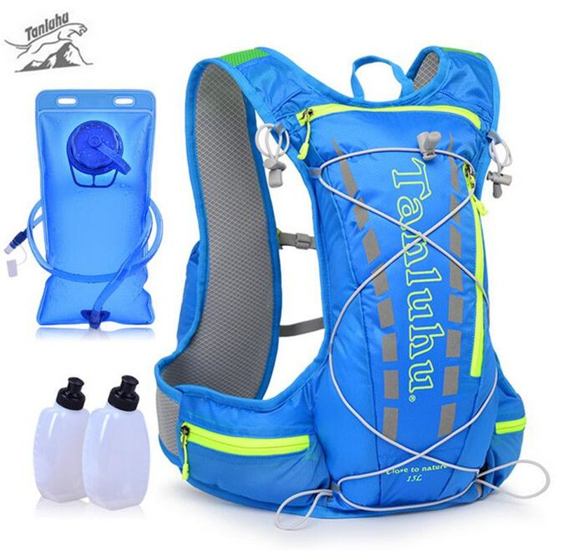 TANLUHU 15L Laufen Rucksack Trail Racing Trink Weste Pack Outdoor Camping Wandern Laufen Wasser Hydration Rucksack Sporttasche