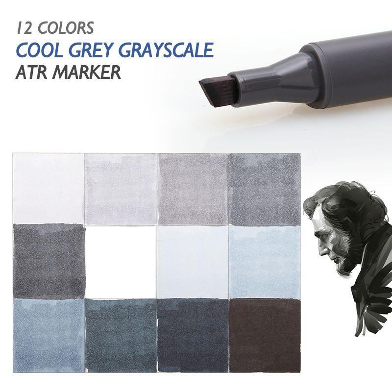 STA 12 Cool Grey Couleurs Art Marqueurs En Niveaux de Gris Artiste Double tête Marqueurs Ensemble pour Brosse Stylo Peinture Marqueur École Étudiant fournitures