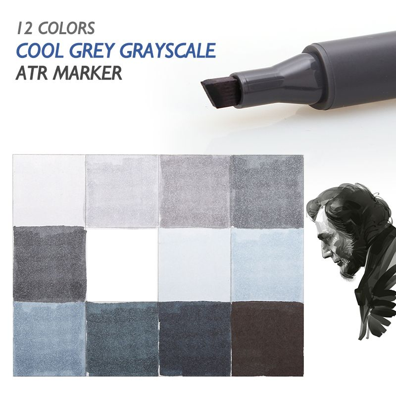 STA 12 <font><b>Cool</b></font> Grey Colors Art Markers Grayscale Artist Dual Head Markers Set for Brush Pen Painting Marker School Student Supplies