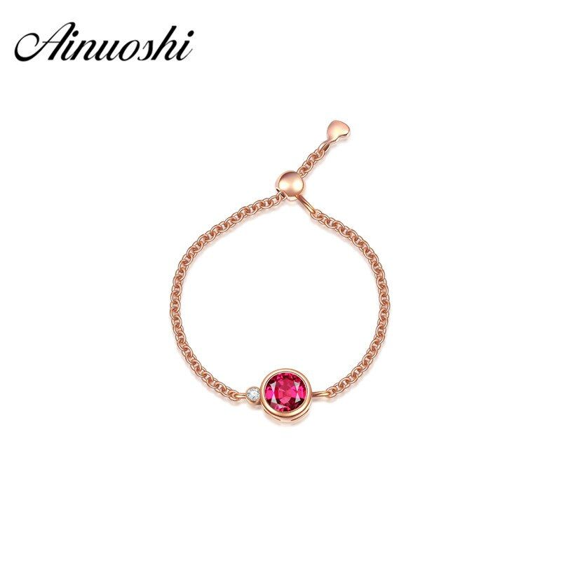 AINUOSHI 18k Solid Yellow Gold Chain Ring 0.27ct Round Natural Rubellite Aneis Feminino Women Engagement Wedding Ring Adjustable