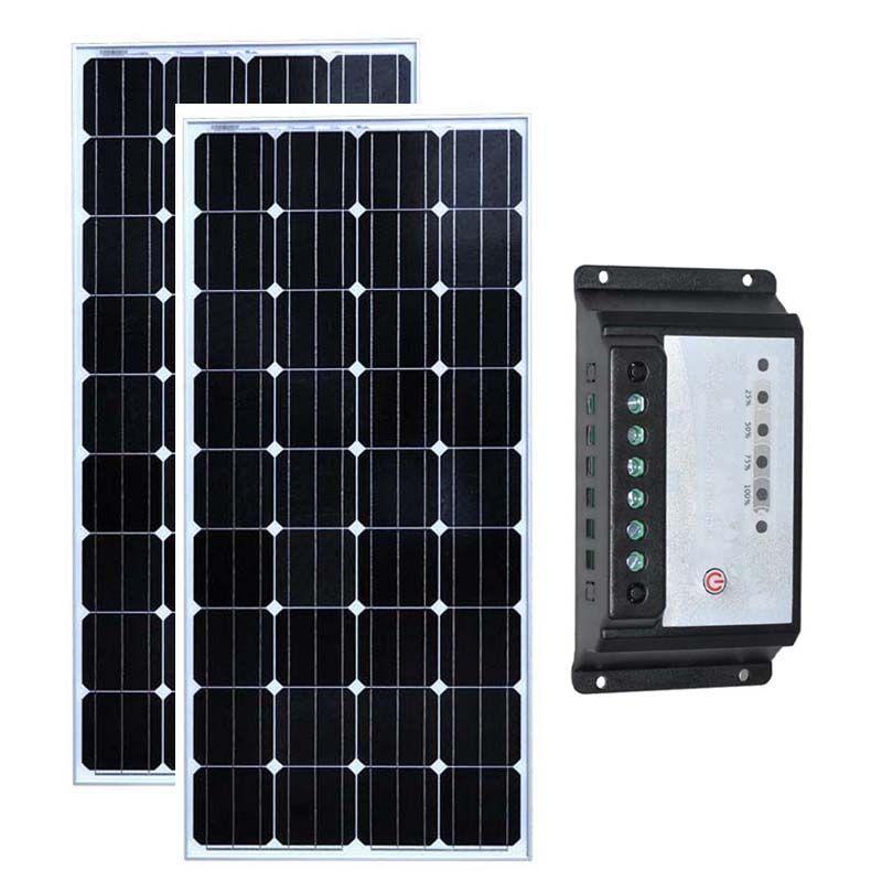 Kit Panneau Solaire 24 v 300 watt Solaire Maison 150 watt Solar Laderegler 12 v/24 v 20A camping-Auto Caravane Rv Carregador Solar