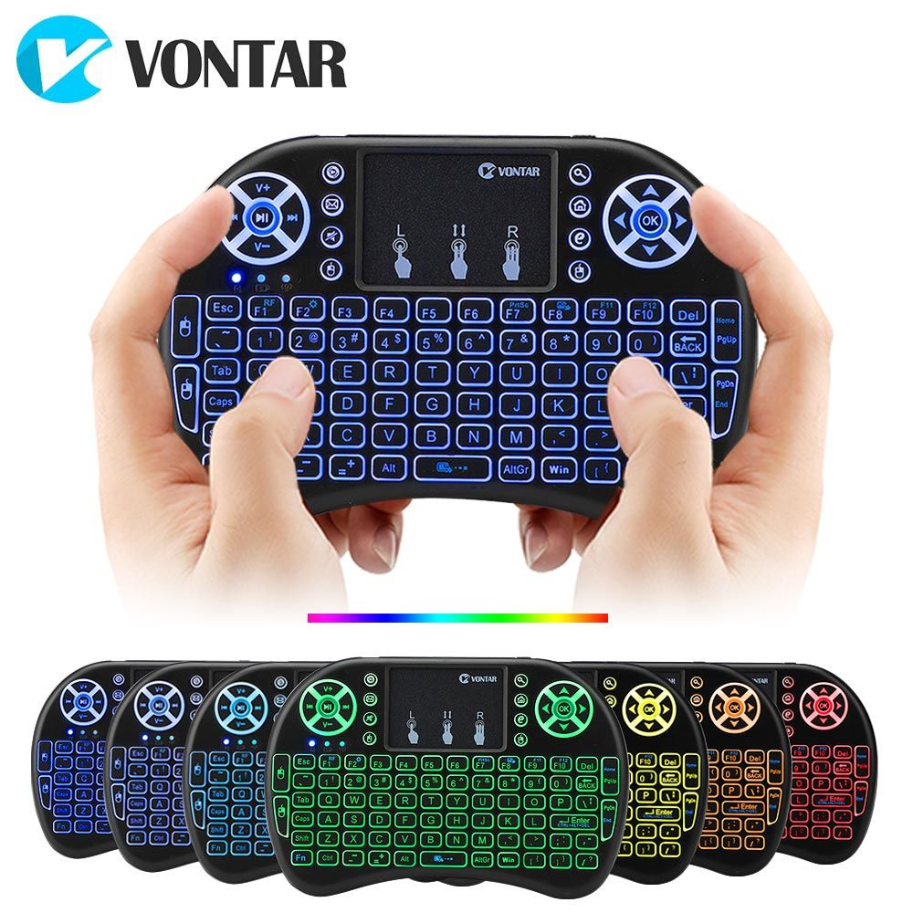 VONTAR i8 7 Colors Backlit 2.4G Wireless Keyboard Air Mouse English Russian Touchpad Handheld for Android TV BOX T9 H96 Max plus
