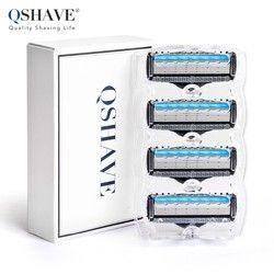 Qshave руководство для бритья Лезвия для бритв для человека лезвие пополнения X5 лезвие плюс 1 Триммер лезвия США мирового класса, 4 картриджей