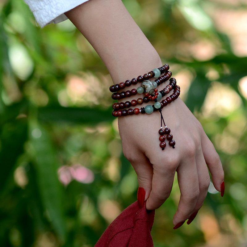 Beaded Bracelet vintage Dzi Beads <font><b>pendant</b></font> Bohhda Necklace natural stone handmade jewelry wrap charm Bracelets for women 2018