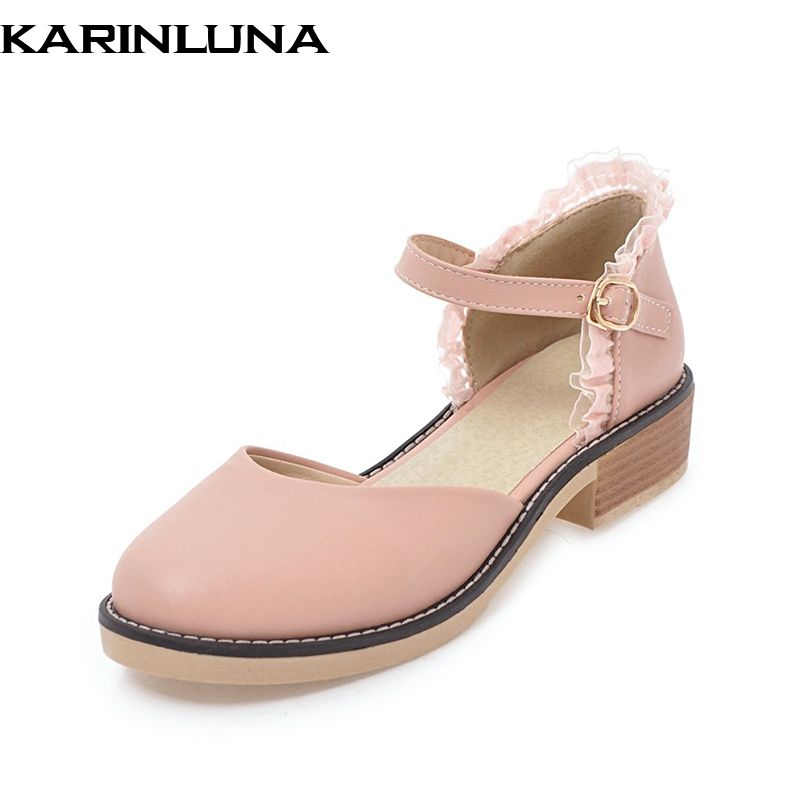 KARINLUNA 2018 Fashion Large Size 32-44 Sweet Summer Sandal Shoes Square Comfortable Heels Wholesale Dropship Shoes Women