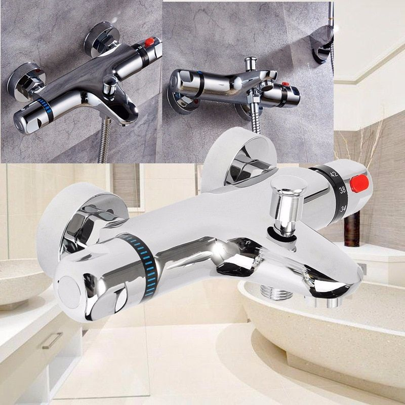 Wall Mounted Bath Shower Ceramic Thermostatic Faucets Valve Bathroom Shower Water Thermostatic Control Valve Mixer Faucet Tap