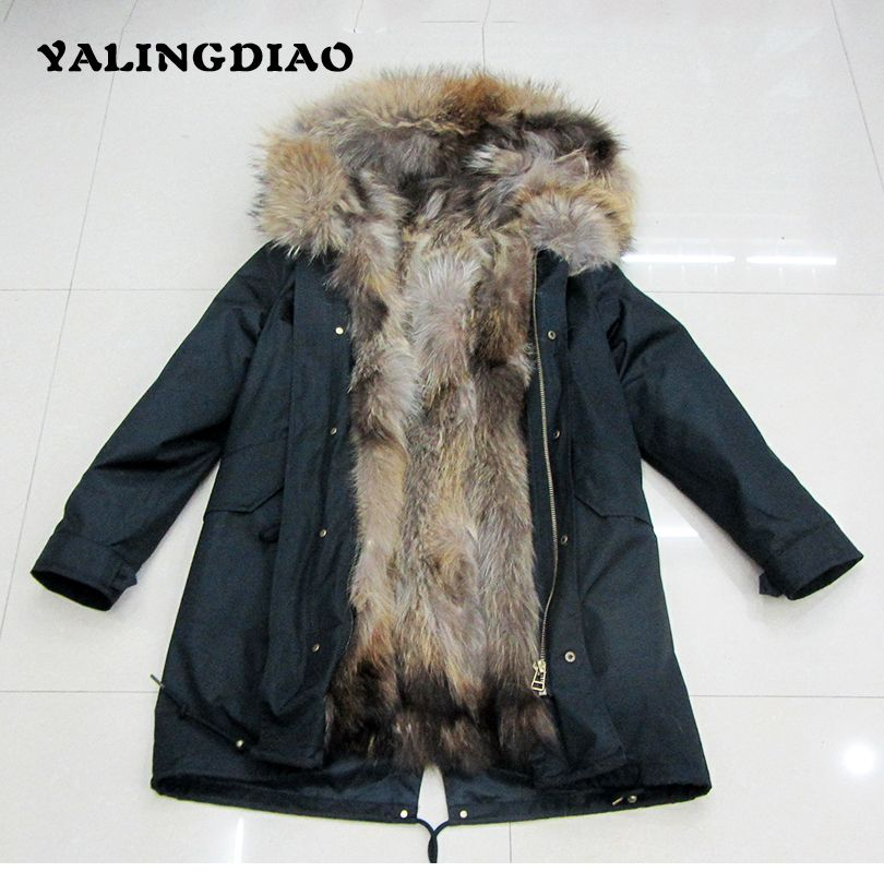 Winter Real Fur Parka Female Outwear With Fur Hood Solid Long Raccoon Dog Fur Ladies Slim Natural Fur Collar Parka Women Jackets