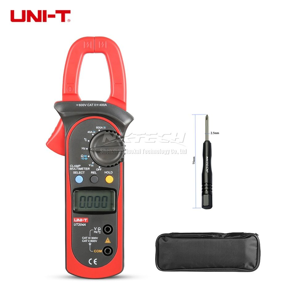 UNI-T Digital Clamp Meter Multimeter UT204A UT204 UT203 400A Temperature Capacitance AC DC Volt Current 600A Res Frequency MAX