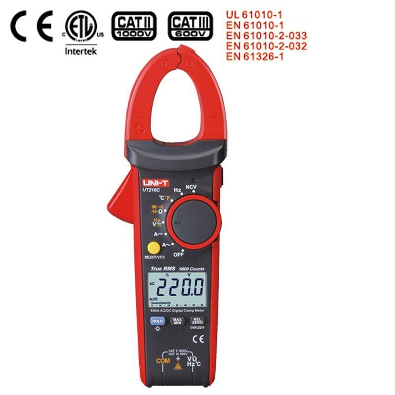 New Uni T Ut216c 600a True Rms Digital Clamp Meters Auto Range W Frequency Capacitance Temperature & Ncv Test Megohmmeter