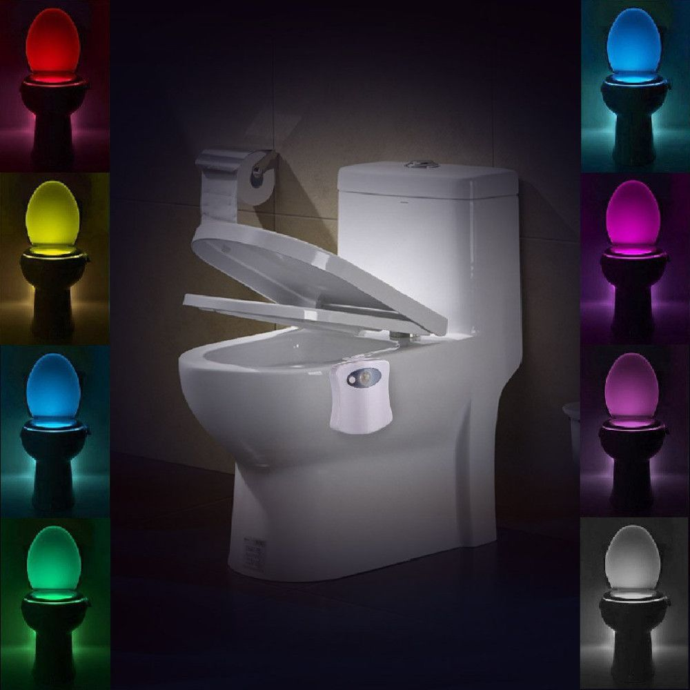 Lumiparty LED Sensor Motion Toilet Light Activated Glow Toilet Bowl Light Up Sensing Toilet Seat Night Light Inside BathroomLamp