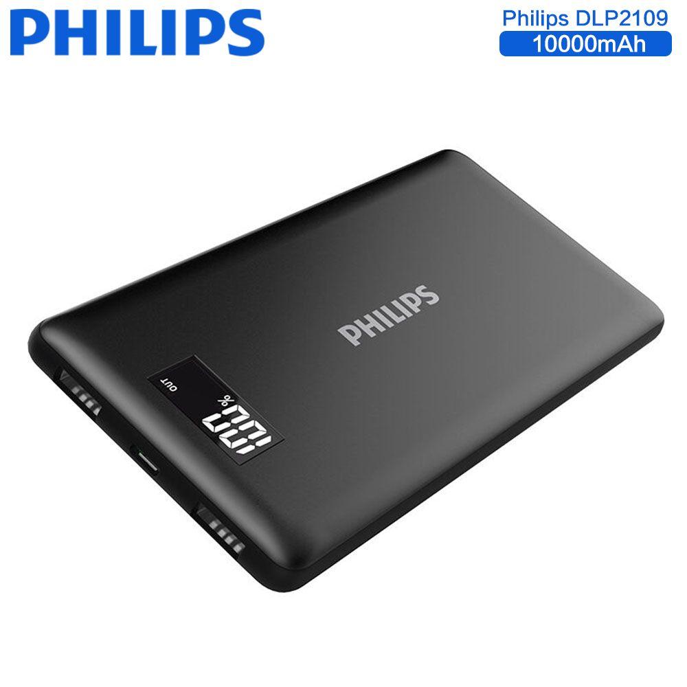 Philips 10000 mah puissance banque lcd affichage dual usb batterie externe chargeur de secours pour iphone 5s 6s 7 samsung xiaomi powerbank