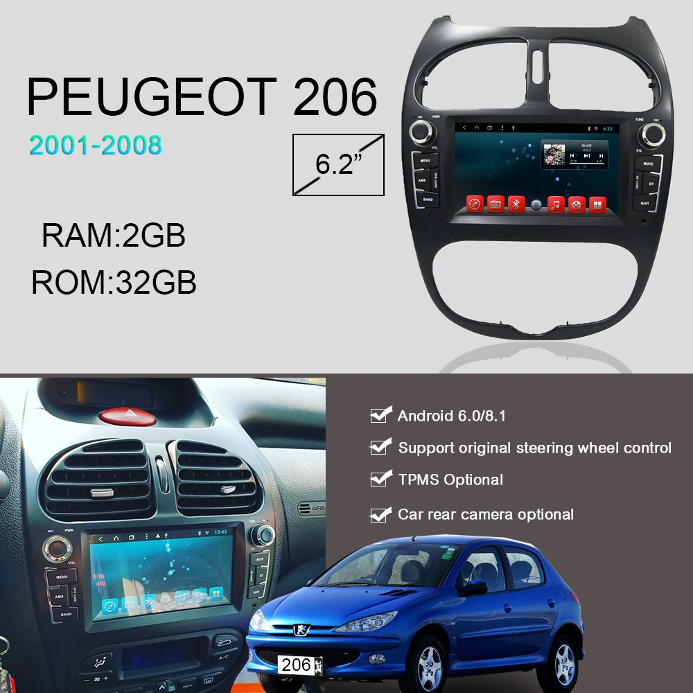 Android 6.0 8,1 Octa Core gps navigation dvd cd-player für Peugeot 206 FM radio 2002 2003 2004 2005 2006 2007 2008 auto stereo
