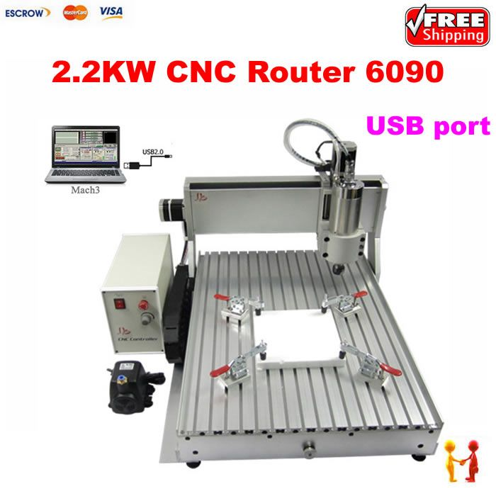 USB PORT mini CNC router 6090 3axis 3D drilling machine 2.2KW water cooled spindle with limit switch