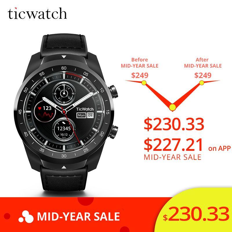 Original Ticwatch Pro Bluetooth Smart Uhr IP68 Wasserdichte unterstützung NFC Zahlungen/Google Assistent Tragen OS durch Google GPS Uhr