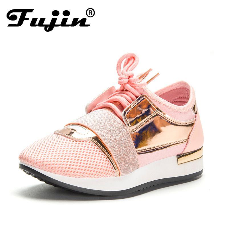 Fujin femmes baskets nouveau printemps 2019 mode Pu cuir plate-forme chaussures dames formateurs Chaussure Femme femmes chaussures décontractées