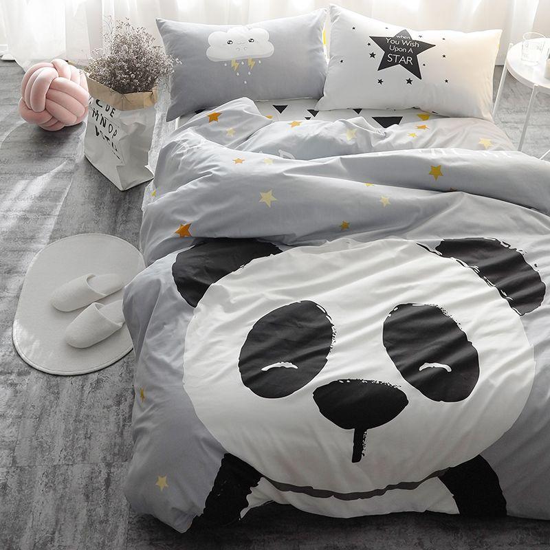 100% Cotton Fit/Bed sheet Cartoon Kids Cute Bedding Set Single Twin size Flat sheet Duvet Cover set Pilowcase 4Pcs Bedclothes