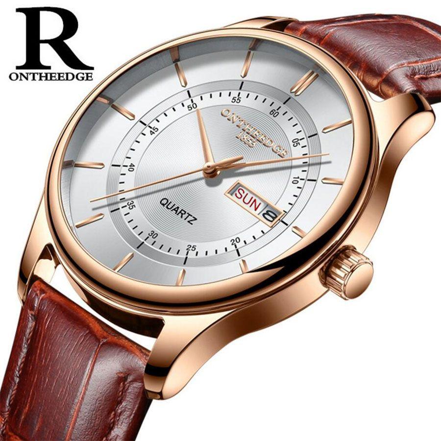Haute qualité cadran en or Rose montre hommes en cuir étanche 30 M montres d'affaires mode japon Quartz mouvement automatique Date mâle horloge