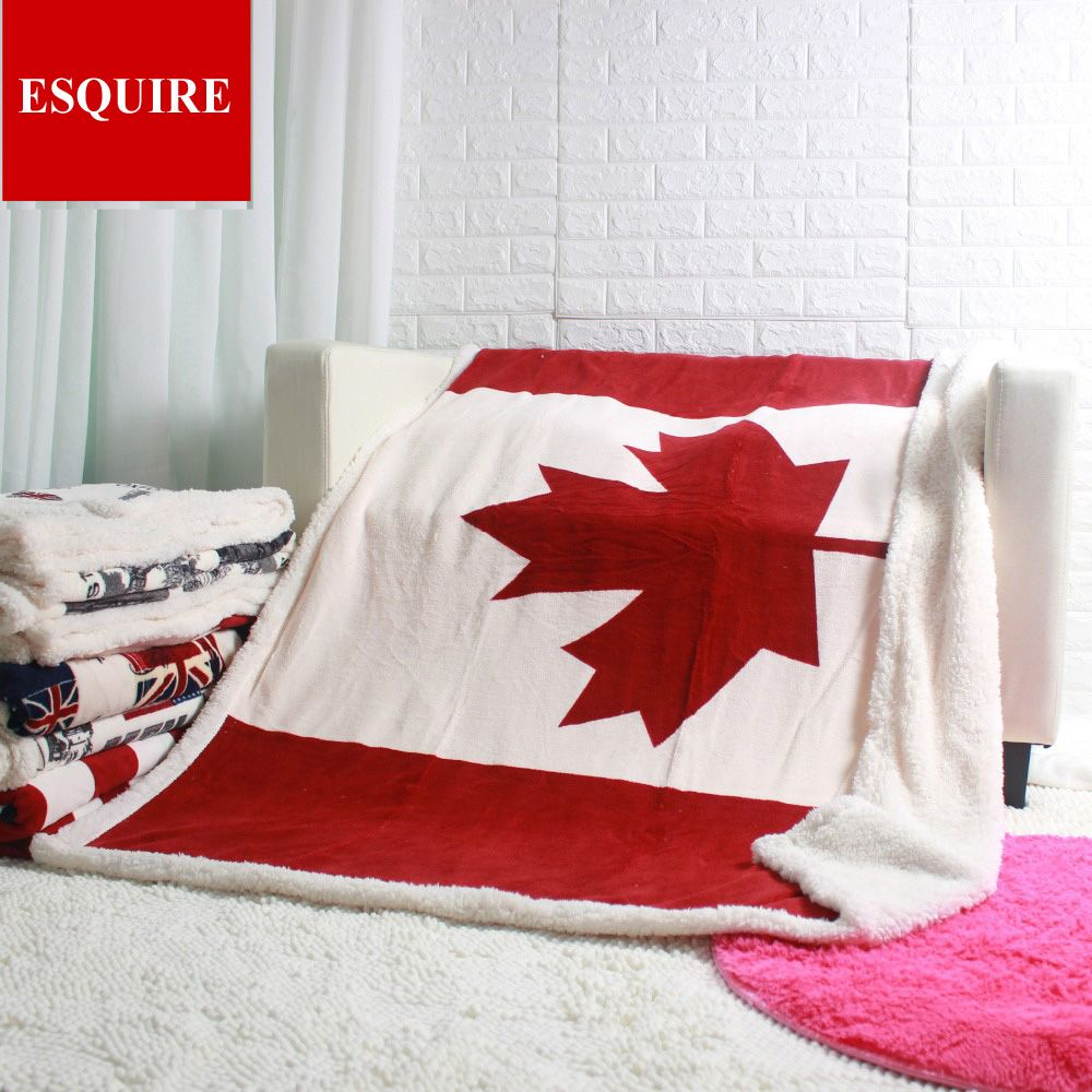 Double layer thick canadian maple leaf canada flag sherpa plush throw blanket 50x60inch