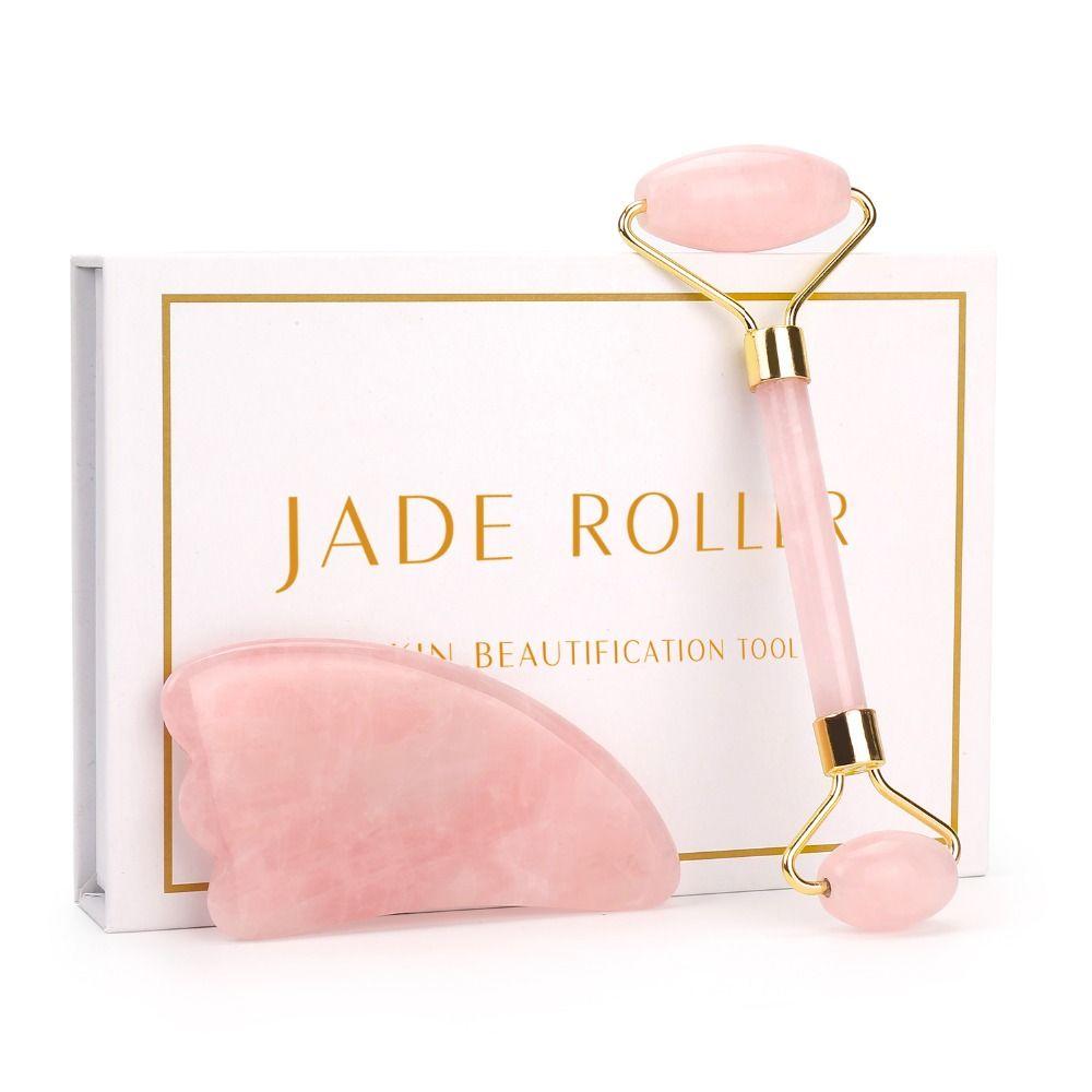 Rouleau de Quartz Rose minceur masseur de visage outil de levage naturel Jade rouleau de Massage du visage pierre Massage de la peau coffret de soins de beauté
