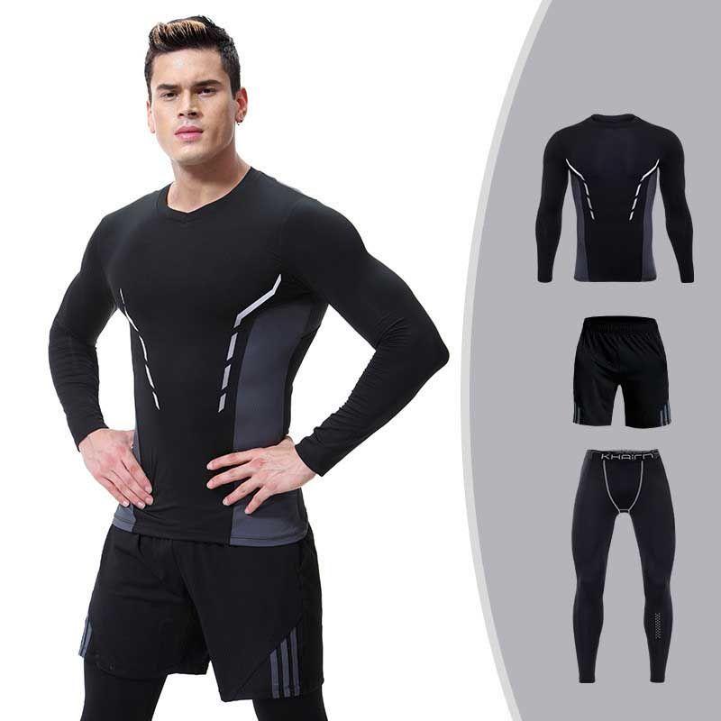 3 Stück Männer Trocknen Schnell Kompression Lange Unterhosen Fitness Gymming Männlichen Winter Sport Läuft Workout Thermo-unterwäsche Sets S107