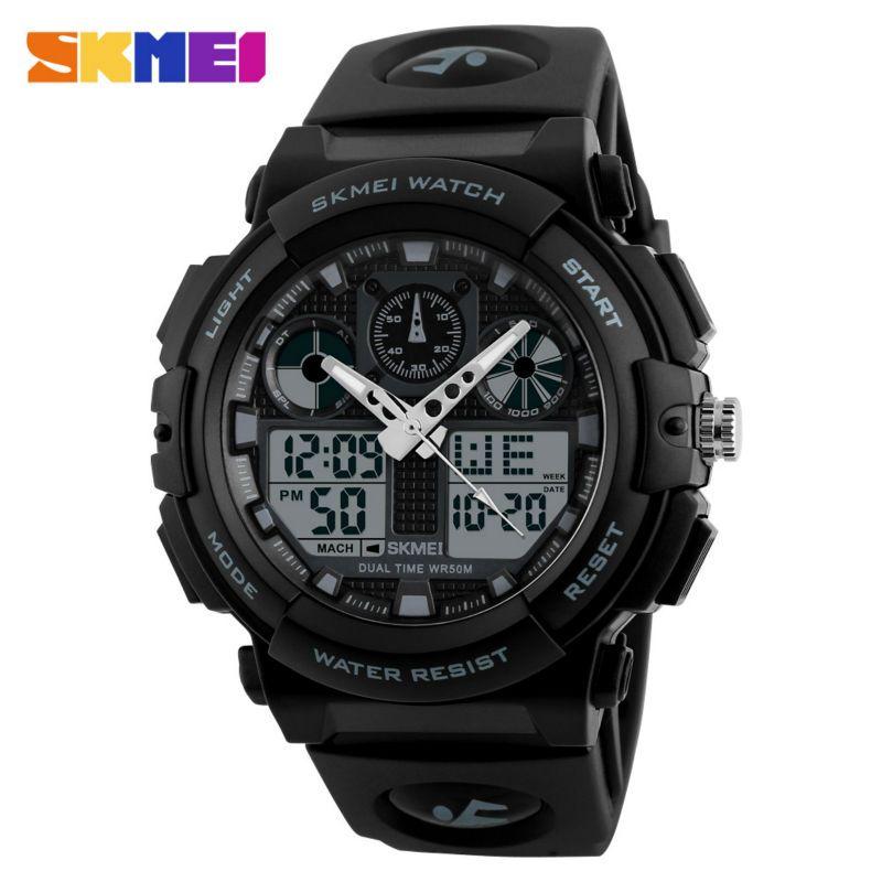SKMEI Men Sports Watch Male Quartz Analog Watches Electronic Dual Display Wristwatches <font><b>Relojes</b></font> Watwrproof Relogio Masculino 1270