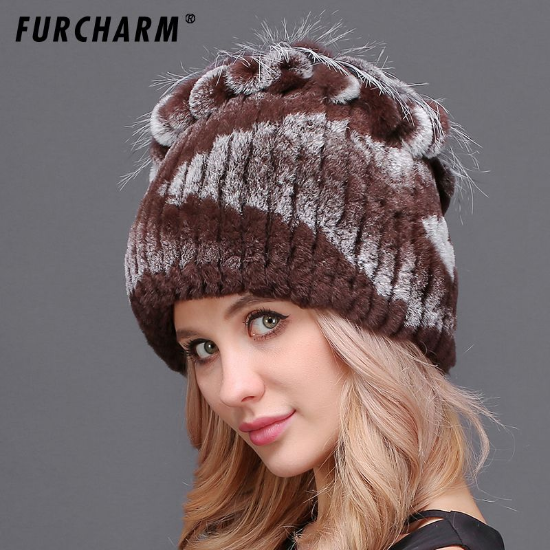Fur Hat for Women 100% Real Rex Rabbit Princess Cap with Luxury Fox Fur Flower Tops 2018 New Thick Female Winter Knitted Fur Hat