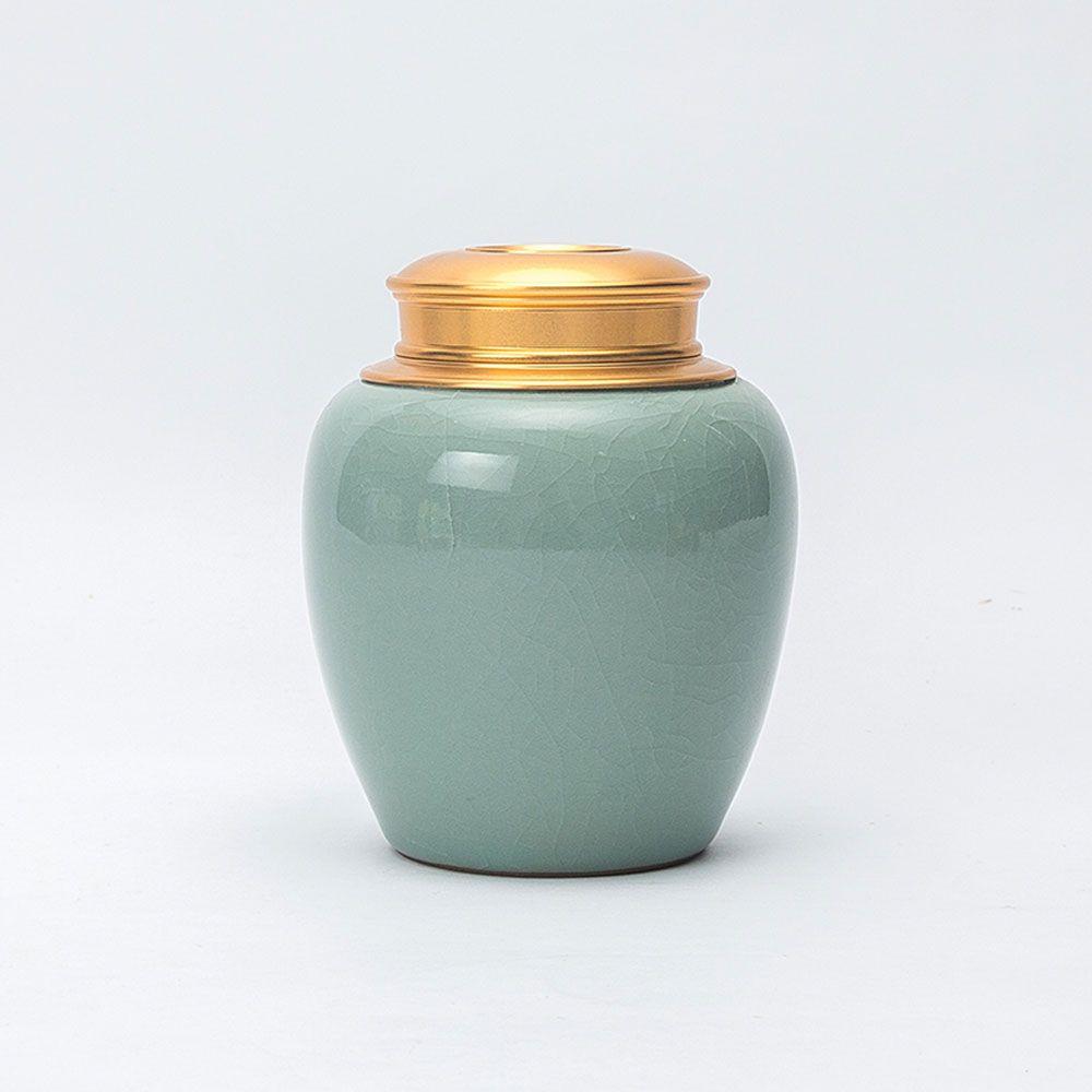 Newchinaroad Ge Ofen Cracke Glasur Tee-blatt Caddy Zinn, Licht Bläulich Grün Große Puer Tee Dosen, tee Kanister für Wohnkultur
