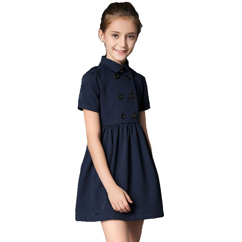 BRAND 2017 Summer Gilr Dress Child Double Breasted Vestido Children Princess Short Sleeved Cotton Mini Dress High Quality