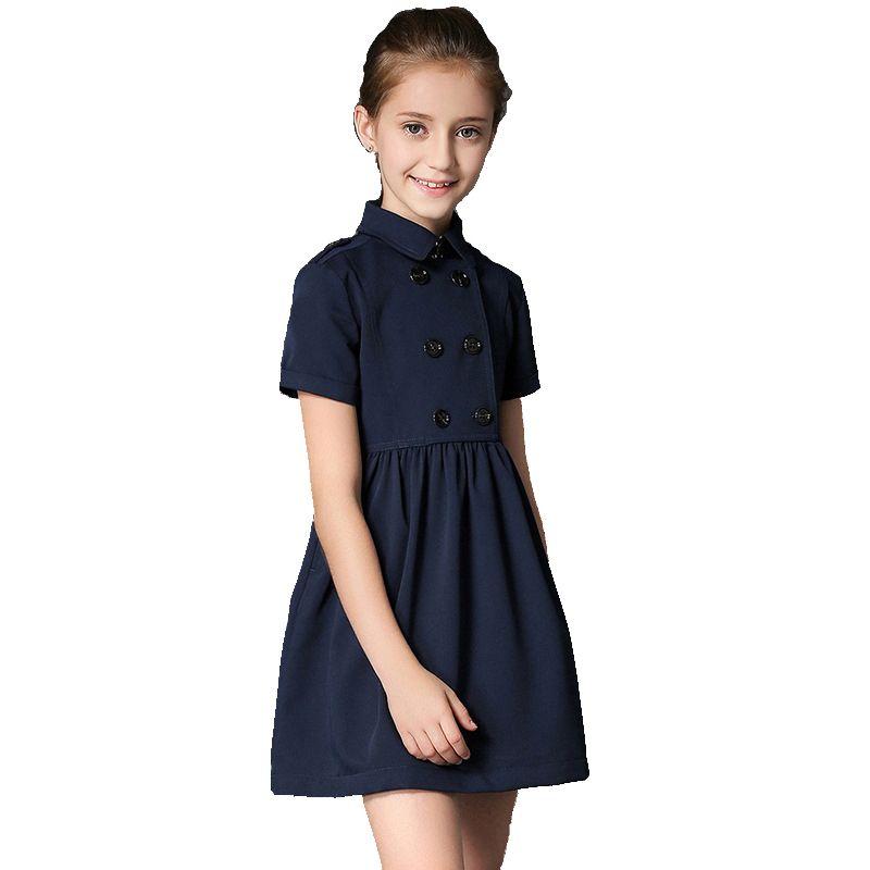 BRAND 2017 Summer Gilr Dress Child Double Breasted Vestido Children Princess Short Sleeved Cotton Mini Dress High Quality